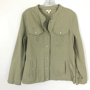 J. Jill Olive green Pearl Snap Front Jacket